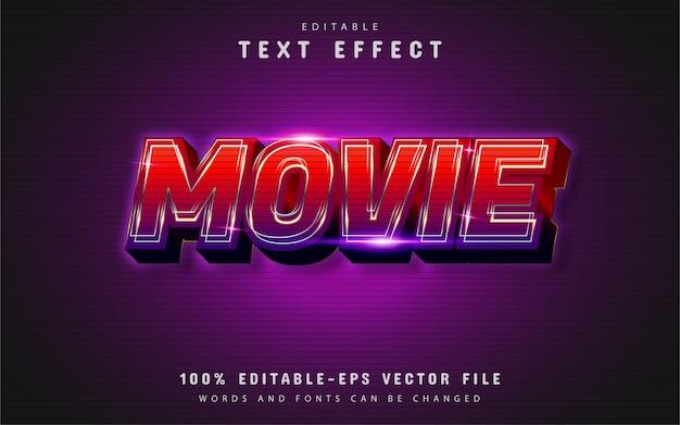 Efekt Tekstowy Filmu Z Czerwonym Gradientem Premium Wektorów