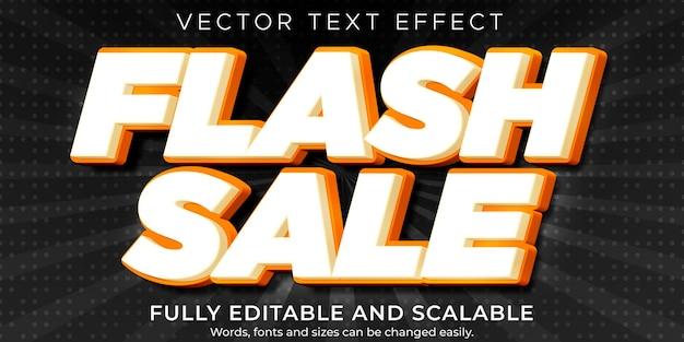 Efekt Tekstowy Flash Sale, Edytowalny Rabat I Styl Oferty Premium Wektorów