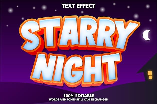 Efekt Tekstowy Gwiaździsta Noc Na Tle Nocy Darmowych Wektorów