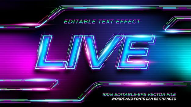 Efekt Tekstowy Na żywo Neon Premium Wektorów