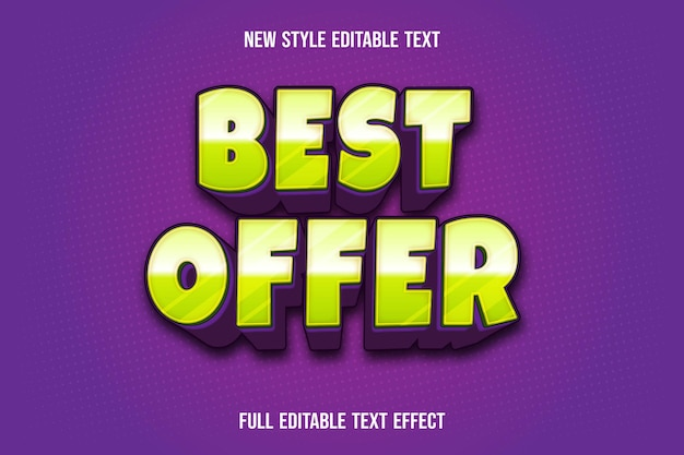 Efekt Tekstowy Najlepiej Oferuje Kolor Zielony I Fioletowy Premium Wektorów