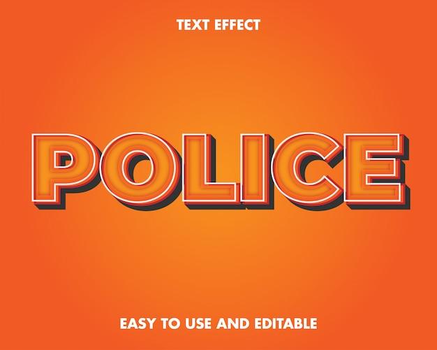 Efekt Tekstowy Policji. Edytowalny Efekt Tekstowy I łatwy W Użyciu. Ilustracja Wektorowa Premium Premium Wektorów