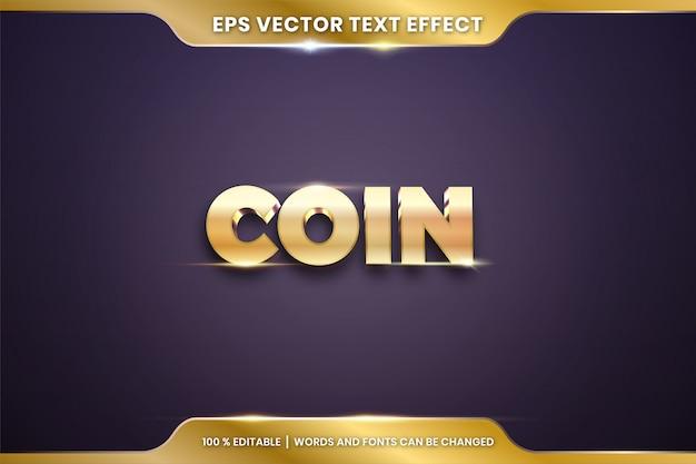 Efekt Tekstowy W Słowach 3d Coin, Edytowalna Koncepcja Efektu Tekstowego W Kolorze Złota Metalowego Premium Wektorów