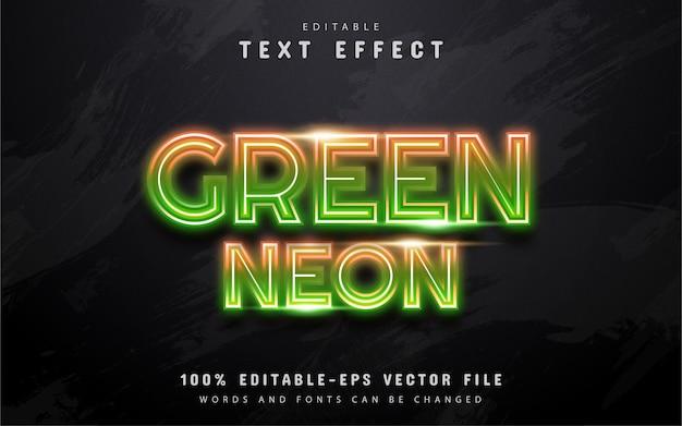 Efekt Tekstu Zielonego Neonu Premium Wektorów