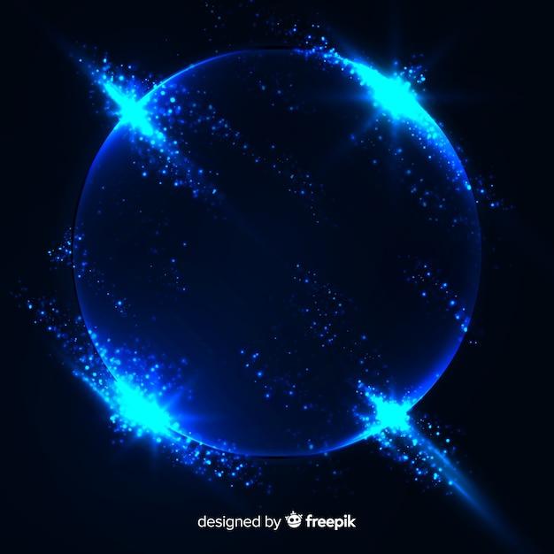 Efekt wybuchu cząstek niebieski na czarnym tle Darmowych Wektorów