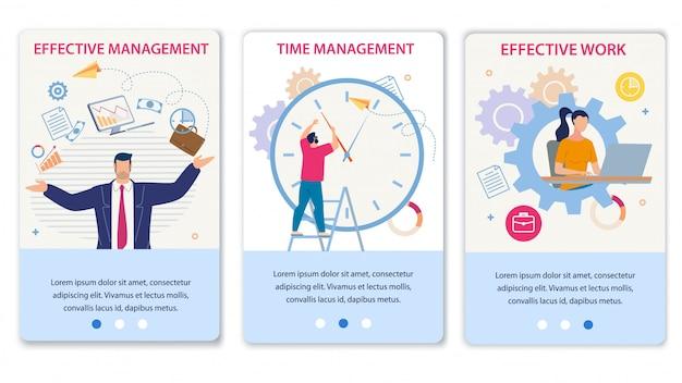 Efektywne zarządzanie czasem i praca mobilny zestaw stron Premium Wektorów