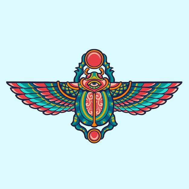 Egipska Ilustracja Chrząszcza Skarabeusza Premium Wektorów