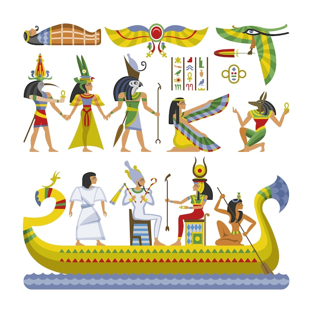 Egipski Wektor Faraona Charakter Starożytny Mężczyzna Kobieta Bóg Ra Ra Anubis Statua Na łodzi Premium Wektorów