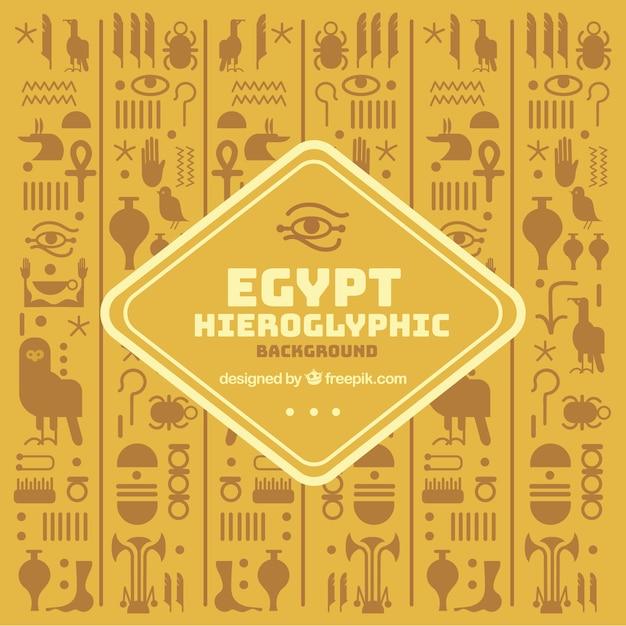 Egipskie Hieroglify Tło Z Płaska Konstrukcja Darmowych Wektorów