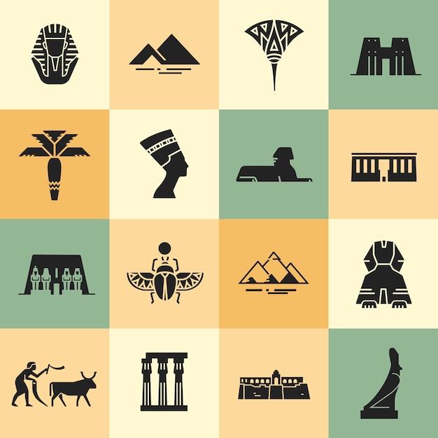 Egipskie Ikony Stylu Płaskiego. Premium Wektorów