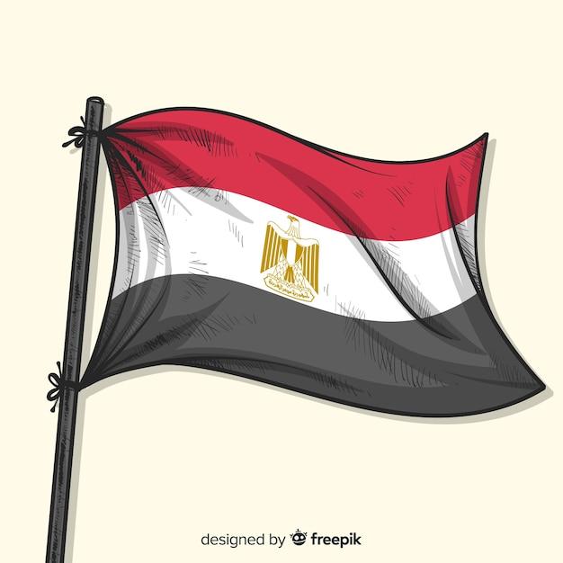 Egipt Ręcznie Rysowane Flagi Narodowej Stylu Darmowych Wektorów