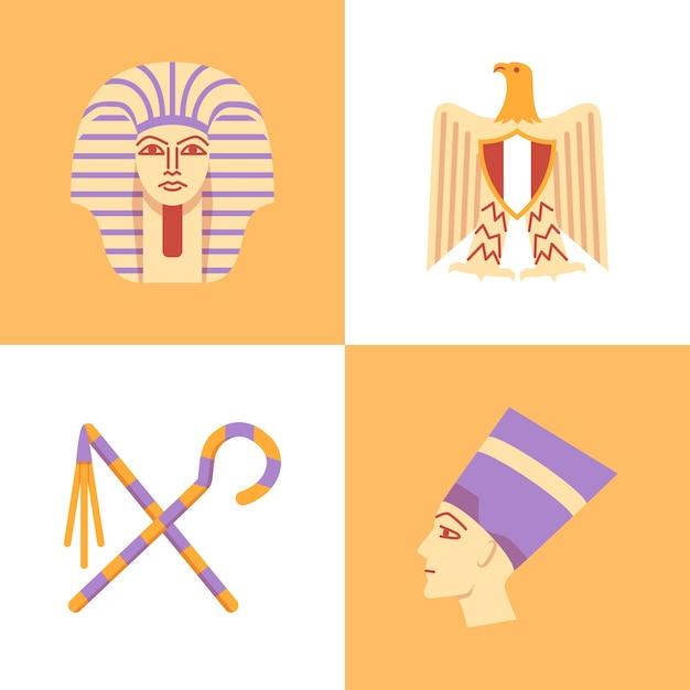 Egipt W Stylu Płaski Premium Wektorów