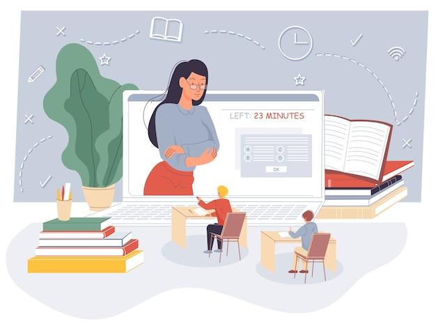 Egzamin Na Odległość Dla Dzieci Online Na Zajęciach Wirtualnych. Premium Wektorów