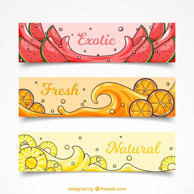 Egzotyczne Banery Kolekcji Owoców Darmowych Wektorów