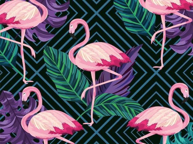 Egzotyczne flamingi zwierzęta i liście tło Premium Wektorów