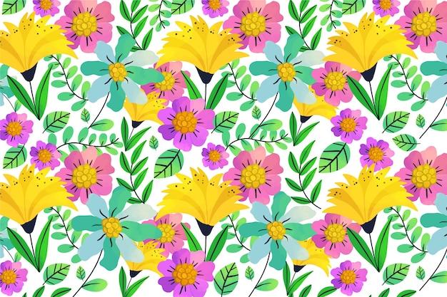 Egzotyczne Liście I Kwiaty Bezszwowe Tło Wzór Darmowych Wektorów
