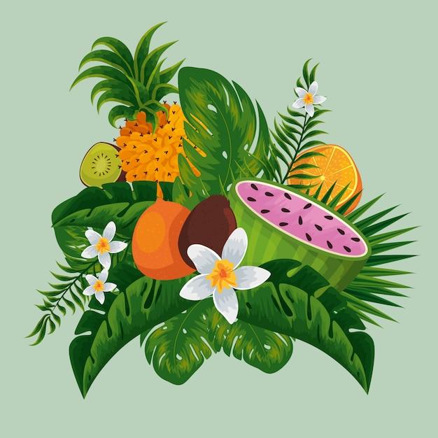 Egzotyczne Owoce W Tropikalnych Liściach I Kwiatach Premium Wektorów