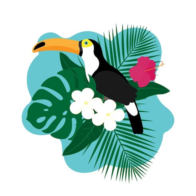 Egzotyczny ptak tukan, kolorowy kwiat hibiskusa i tropikalnych liści Premium Wektorów