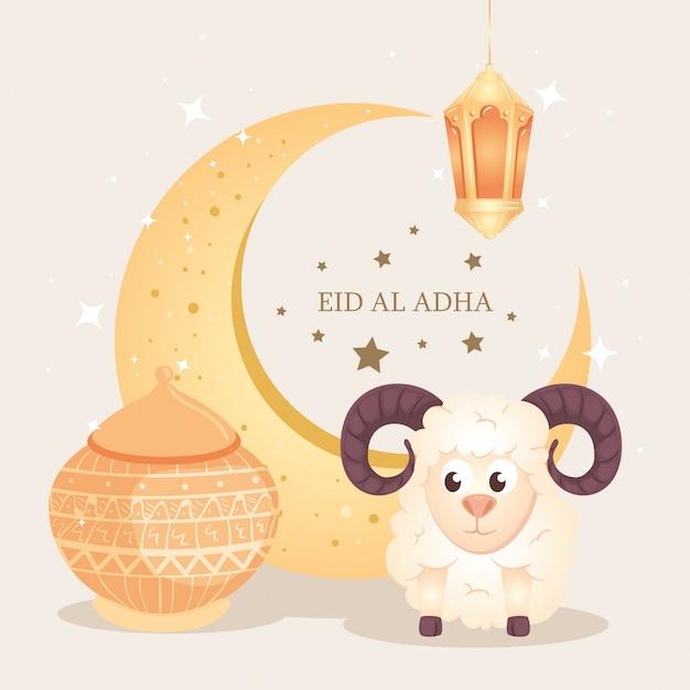 Eid Al Adha Mubarak, święto Szczęśliwych Ofiar, Z Kozą I Tradycyjnymi Ikonami Premium Wektorów