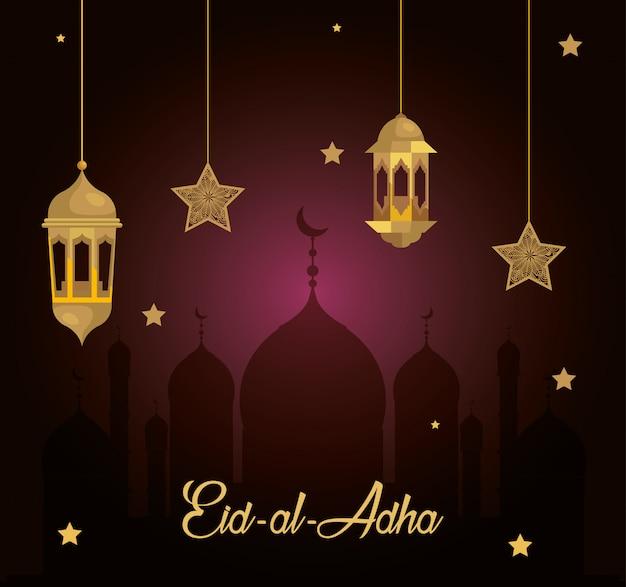 Eid Al Adha Mubarak, święto Szczęśliwych Ofiar, Z Wiszącymi Latarniami I Gwiazdami Premium Wektorów