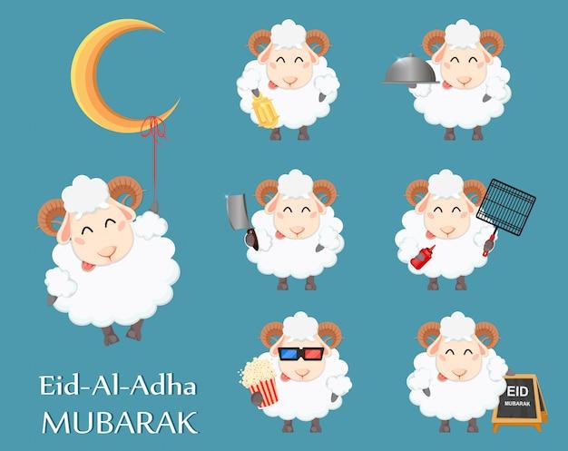 Eid al adha mubarak z życzeniami Premium Wektorów