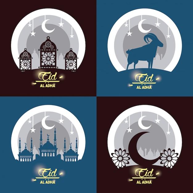Eid al adha święto muzułmanów Darmowych Wektorów