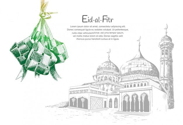 Eid al fitr z ketupatem i meczetem Premium Wektorów