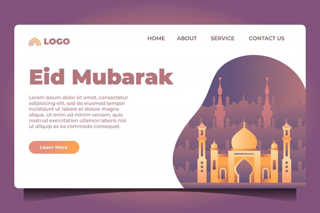 Eid Mubarak Landing Page Premium Wektorów