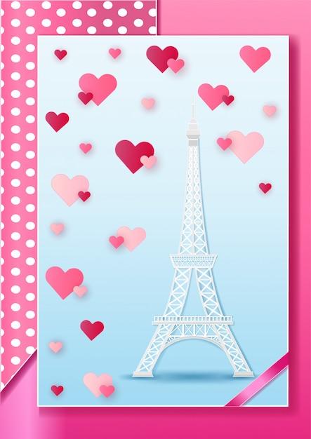 Eiffel France Paryż I Chmura Na Sercu Różowym Premium Wektorów