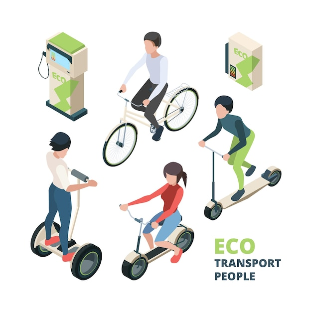 Eko Przewozi Ludzi. 3d Rower Samochód Elektryczny Pojazd Miejski Rower Segway Ilustracje Izometryczne. Premium Wektorów