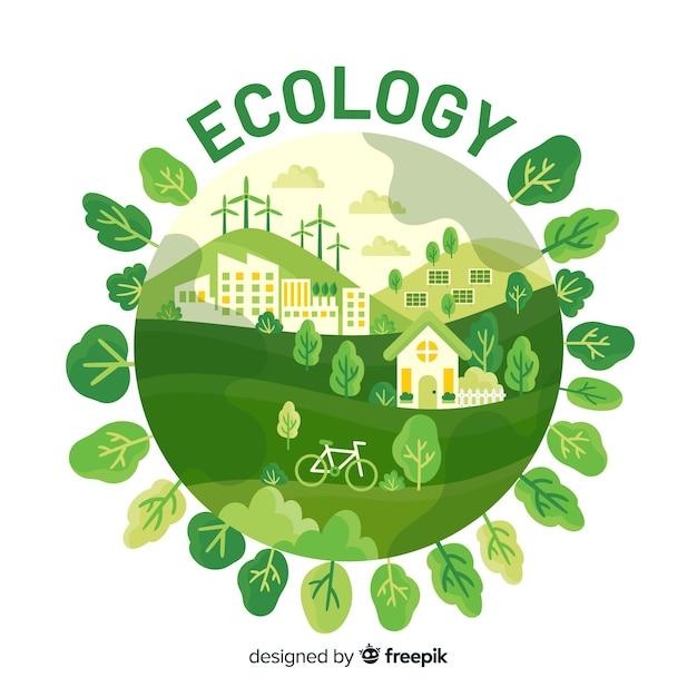 Eko Wioska Korzystająca Z Odnawialnych źródeł Energii Premium Wektorów