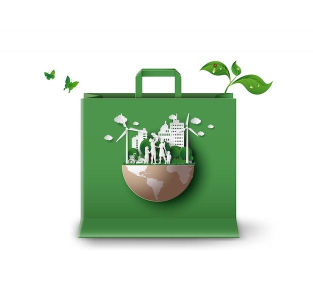 Ekologia I środowisko Na Papierowej Torbie Na Zakupy Premium Wektorów