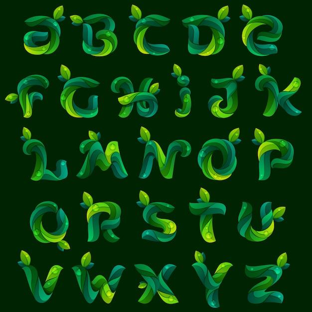 Ekologia Litery Alfabetu Angielskiego Utworzone Przez Zielone Liście. Premium Wektorów