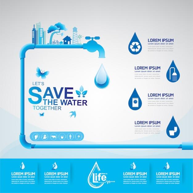Ekologia Oszczędzaj Wodę Uratuj świat Premium Wektorów