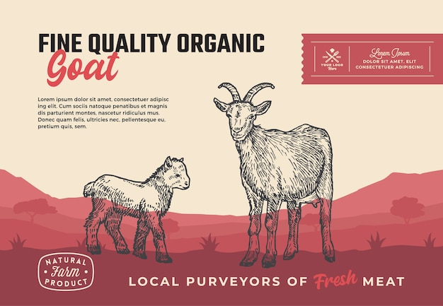 Ekologiczna Koza Wysokiej Jakości. Streszczenie Projektu Opakowania Mięsa Premium Wektorów
