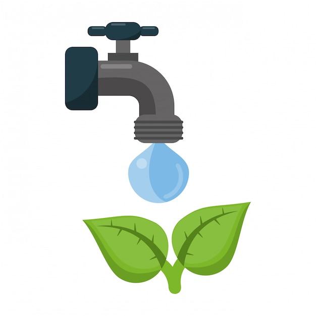 Ekologiczne Kran Z Wodą Premium Wektorów