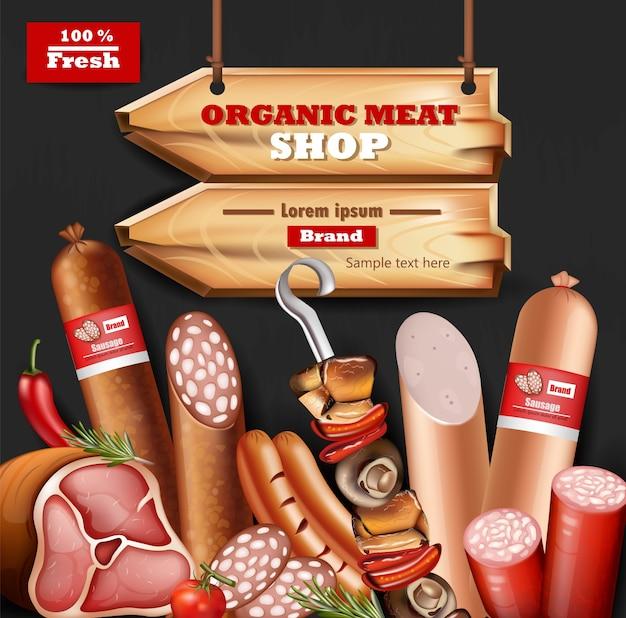 Ekologiczne Mięso Makiety Kolekcji Premium Wektorów