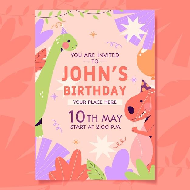 Ekologiczne Zaproszenie Na Urodziny Dla Dzieci Darmowych Wektorów