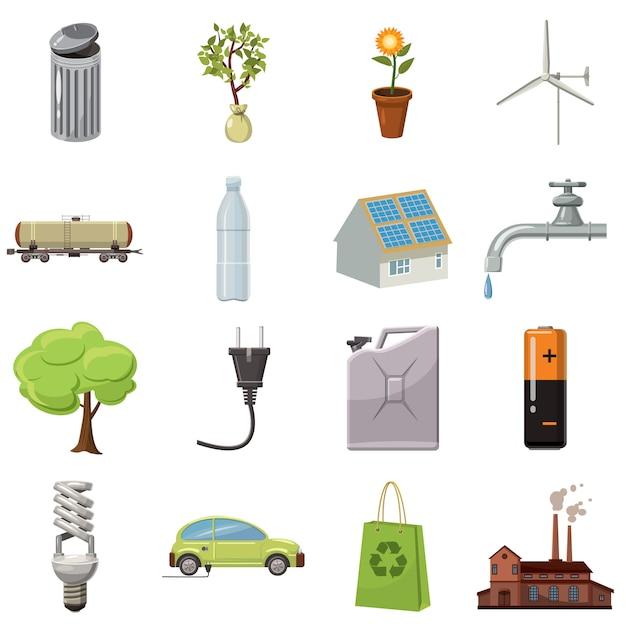 Ekologii ikony ustawiać w kreskówka stylu odizolowywającym na białym tle Premium Wektorów