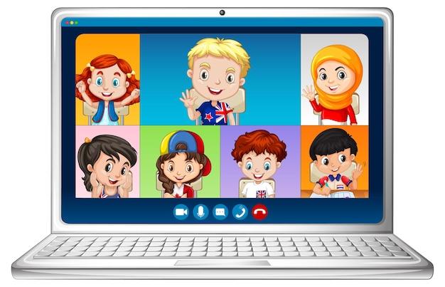 Ekran Czatu Wideo Online Studentów Na Laptopie Na Białym Tle Darmowych Wektorów