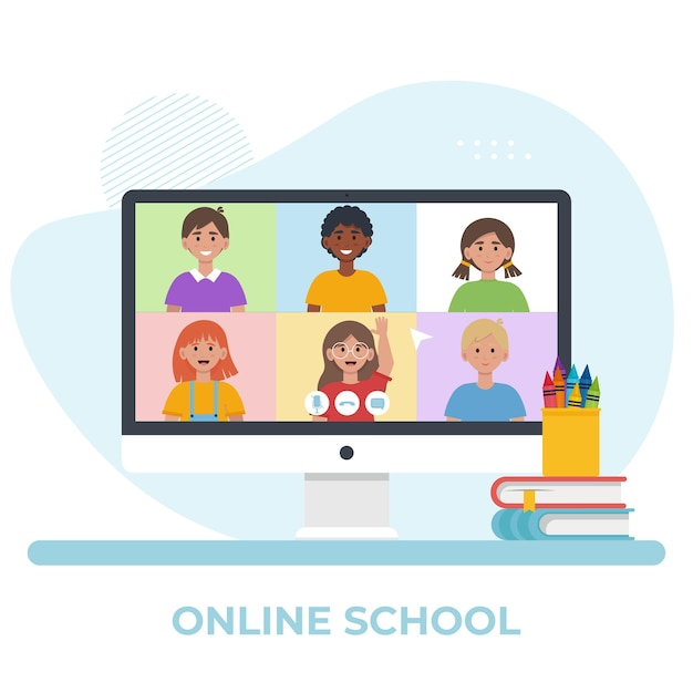 Ekran Monitora Z Wideokonferencją Z Dziećmi W Wieku Szkolnym. Koncepcja Edukacji Online. Płaska Ilustracja Premium Wektorów