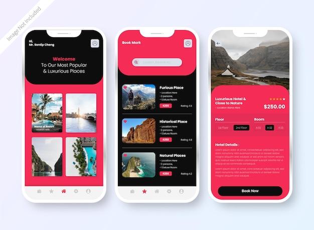 Ekran Projektowania Interfejsu Aplikacji Do Rezerwacji Hoteli Darmowych Wektorów