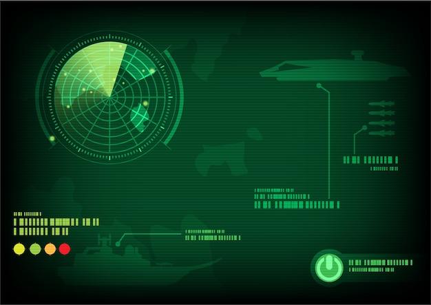 Ekran Radarowy Zielony. Ilustracji Wektorowych Premium Wektorów