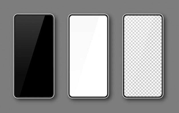 Ekran Telefonu Komórkowego, Makieta Smartfona, Czarny, Biały, Przezroczysty Szablon Wyświetlacza, Biała Ramka. Premium Wektorów