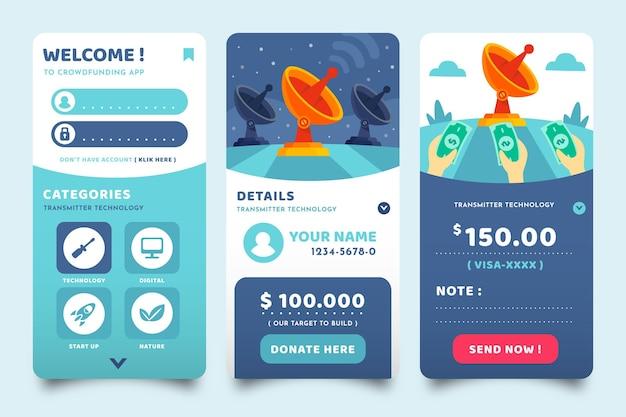 Ekrany Aplikacji Crowdfunding Darmowych Wektorów