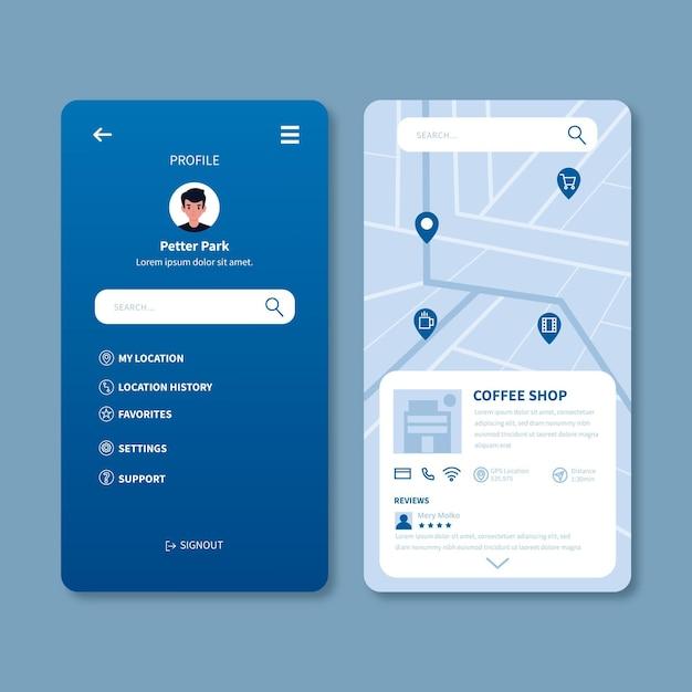 Ekrany Aplikacji Lokalizacji Darmowych Wektorów