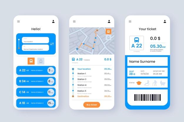 Ekrany Aplikacji Transportu Publicznego Premium Wektorów