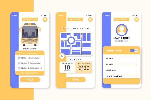 Ekrany Aplikacji Transportu Publicznego Darmowych Wektorów