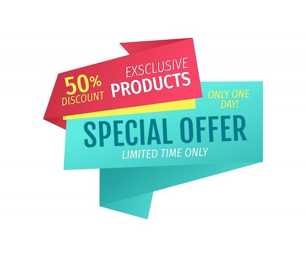 Ekskluzywne produkty za jednodniową ofertę za pół ceny Premium Wektorów