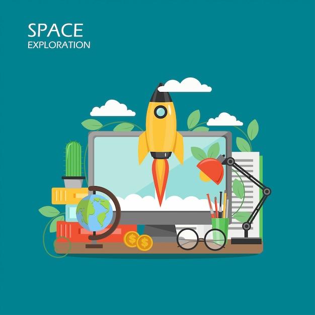 Eksploracja Kosmosu Wektor Urządzony Premium Wektorów